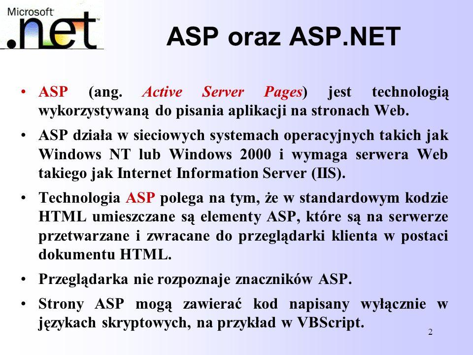 13 Struktura strony ASP.NET Struktura strony ASP.NET Przykładowo: <%@ Page language= C# CodeBehind= MojaKlasa.cs Inherits= MojaKlasa %> Przedstawione rozwiązanie pozwala zaawansowany kod obsługujący stronę umieścić w klasie znajdującej się w osobnym pliku; może się tam znaleźć na przykład obsługa połączeń z bazą danych lub funkcje do obsługi zdarzeń na stronie.