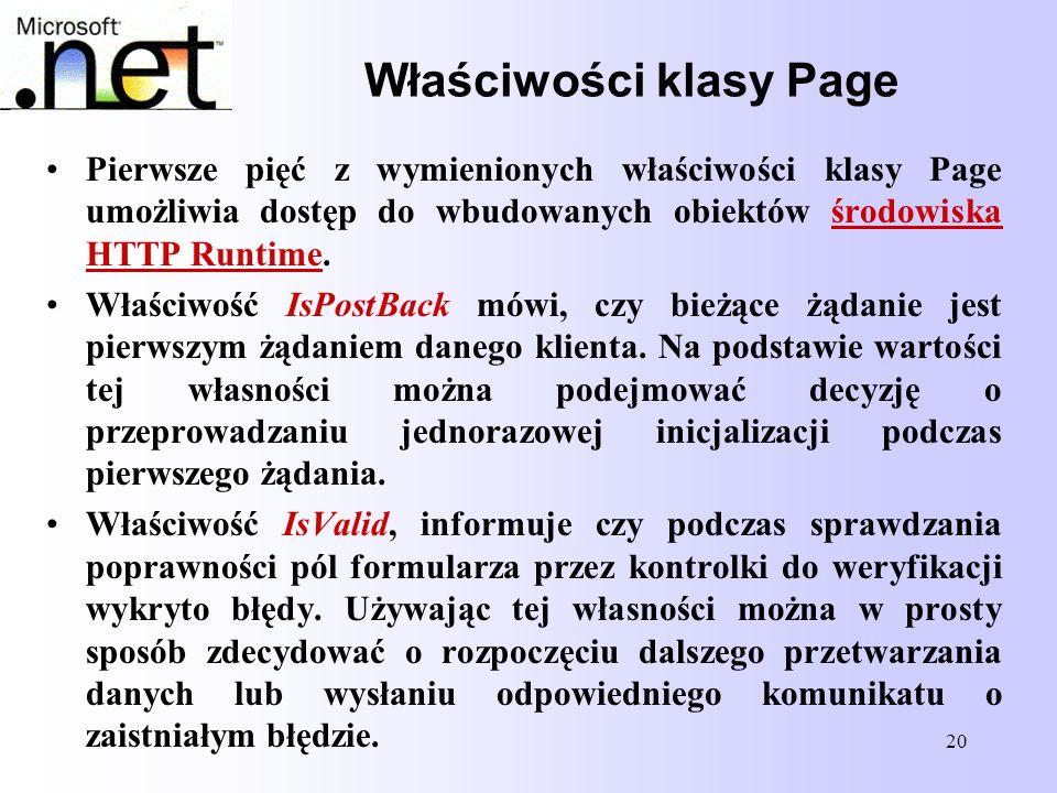 20 Właściwości klasy Page Pierwsze pięć z wymienionych właściwości klasy Page umożliwia dostęp do wbudowanych obiektów środowiska HTTP Runtime. Właści