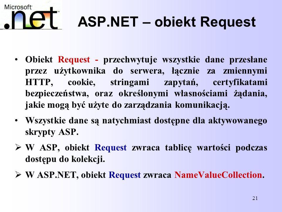 21 ASP.NET – obiekt Request Obiekt Request - przechwytuje wszystkie dane przesłane przez użytkownika do serwera, łącznie za zmiennymi HTTP, cookie, st
