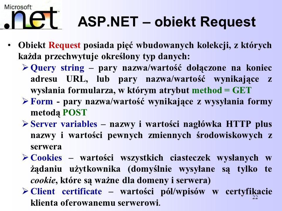 22 ASP.NET – obiekt Request Obiekt Request posiada pięć wbudowanych kolekcji, z których każda przechwytuje określony typ danych:  Query string – pary