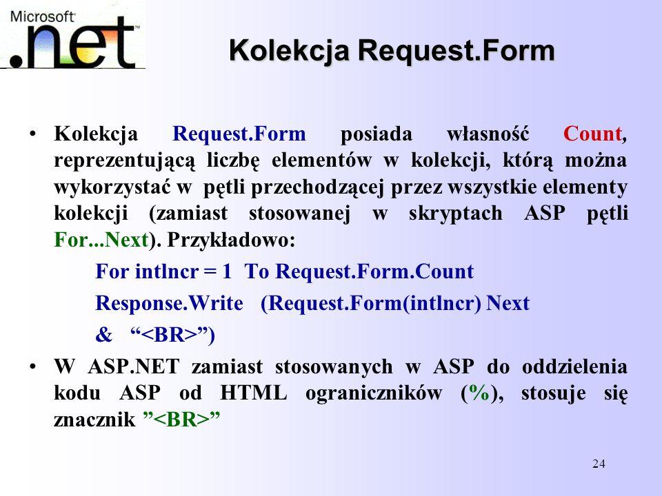 24 Kolekcja Request.Form Kolekcja Request.Form posiada własność Count, reprezentującą liczbę elementów w kolekcji, którą można wykorzystać w pętli prz