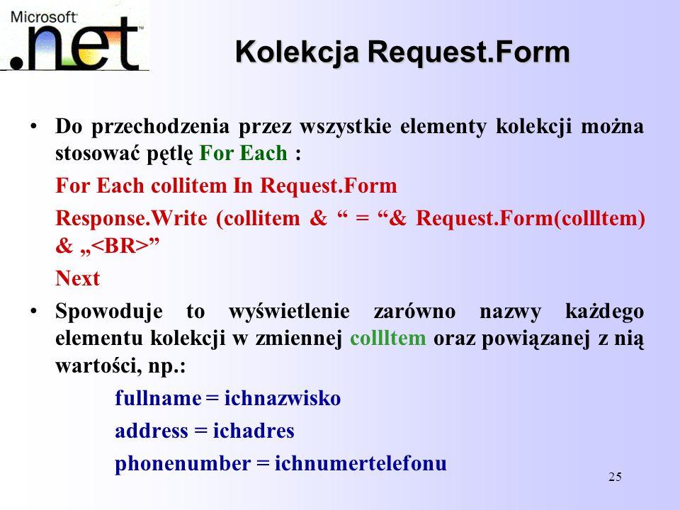 25 Kolekcja Request.Form Do przechodzenia przez wszystkie elementy kolekcji można stosować pętlę For Each : For Each collitem In Request.Form Response
