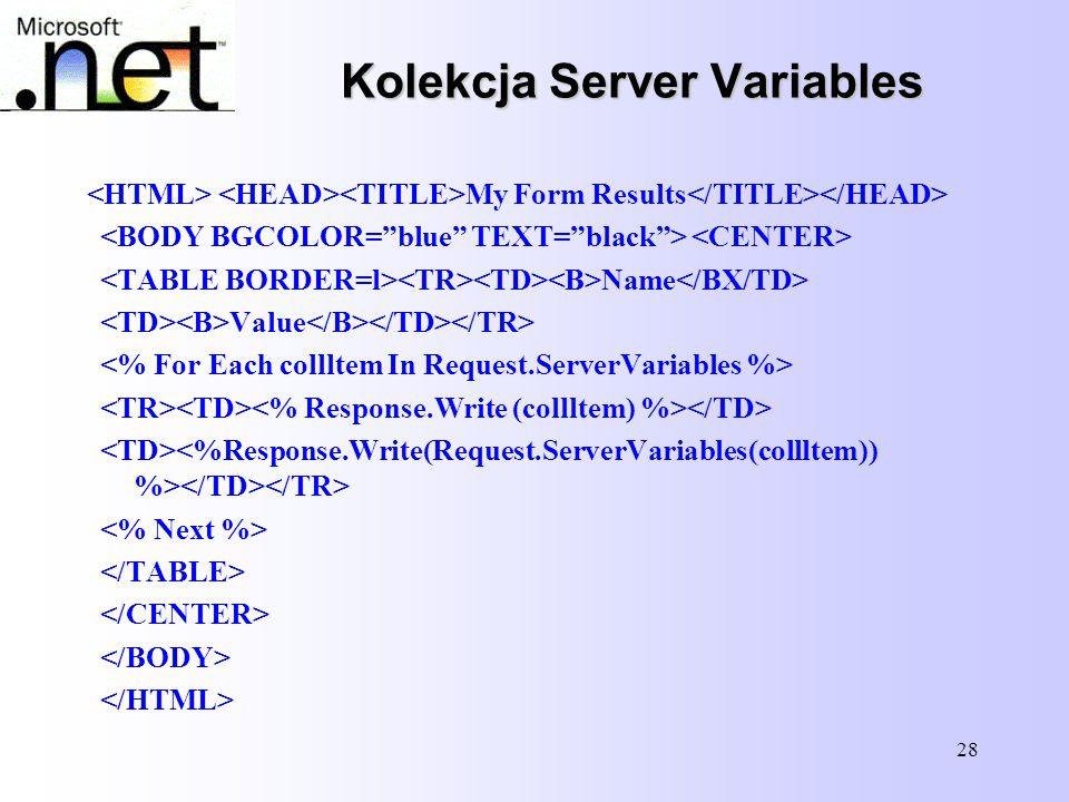 28 Kolekcja Server Variables My Form Results Name Value