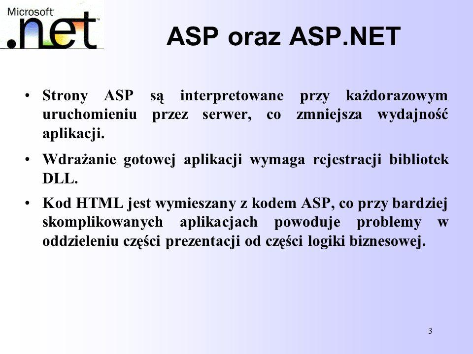 14 Struktura strony ASP.NET Struktura strony ASP.NET Na stronie ASP.NET może pozostać jedynie kod związany z jej wyglądem; pozwala to uzyskać większy porządek niż na stronach ASP, gdzie kod html'a był przeplatany skryptami.