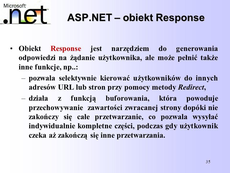 35 ASP.NET – obiekt Response Obiekt Response jest narzędziem do generowania odpowiedzi na żądanie użytkownika, ale może pełnić także inne funkcje, np.