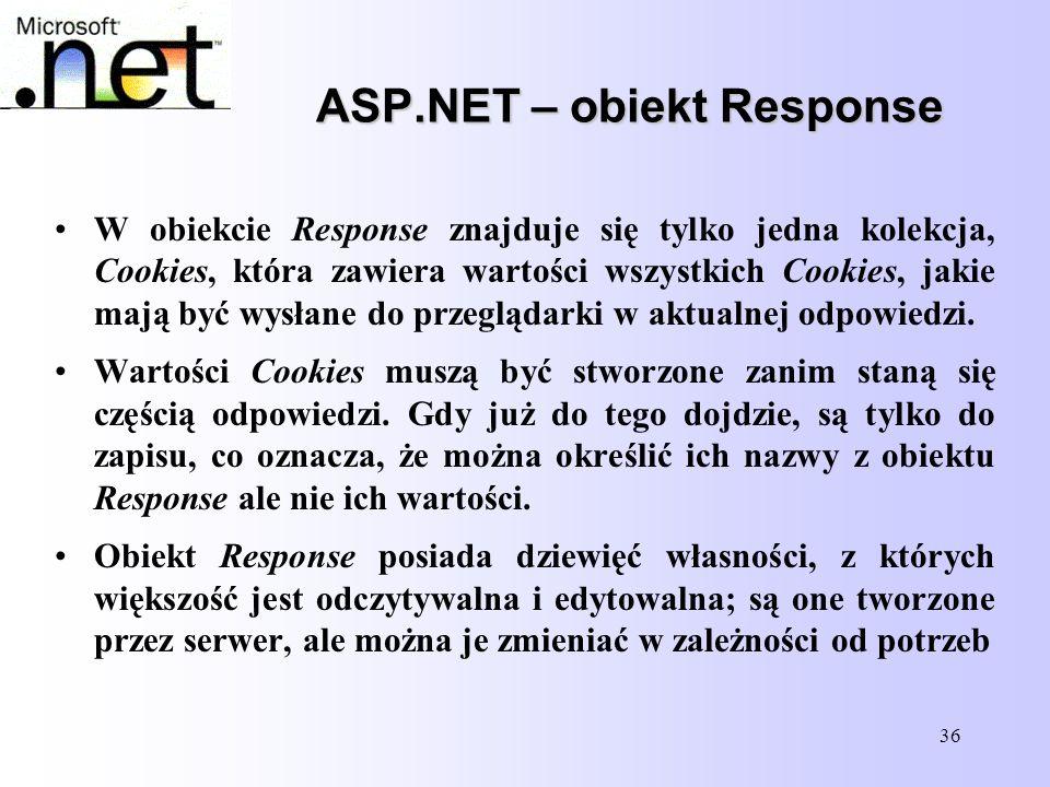 36 ASP.NET – obiekt Response W obiekcie Response znajduje się tylko jedna kolekcja, Cookies, która zawiera wartości wszystkich Cookies, jakie mają być