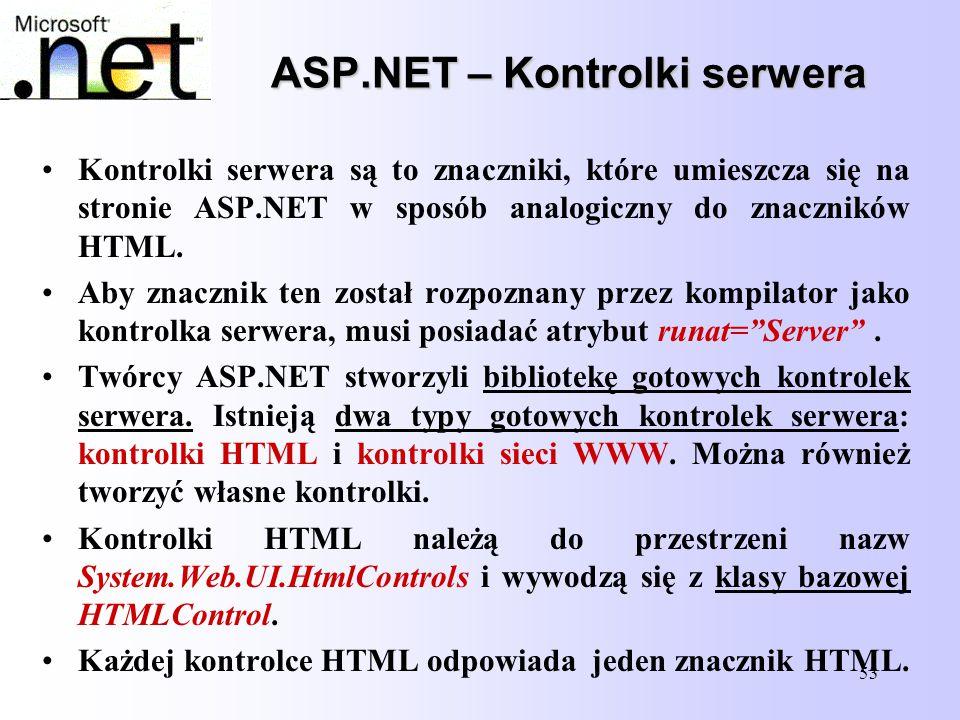 53 ASP.NET – Kontrolki serwera Kontrolki serwera są to znaczniki, które umieszcza się na stronie ASP.NET w sposób analogiczny do znaczników HTML. Aby
