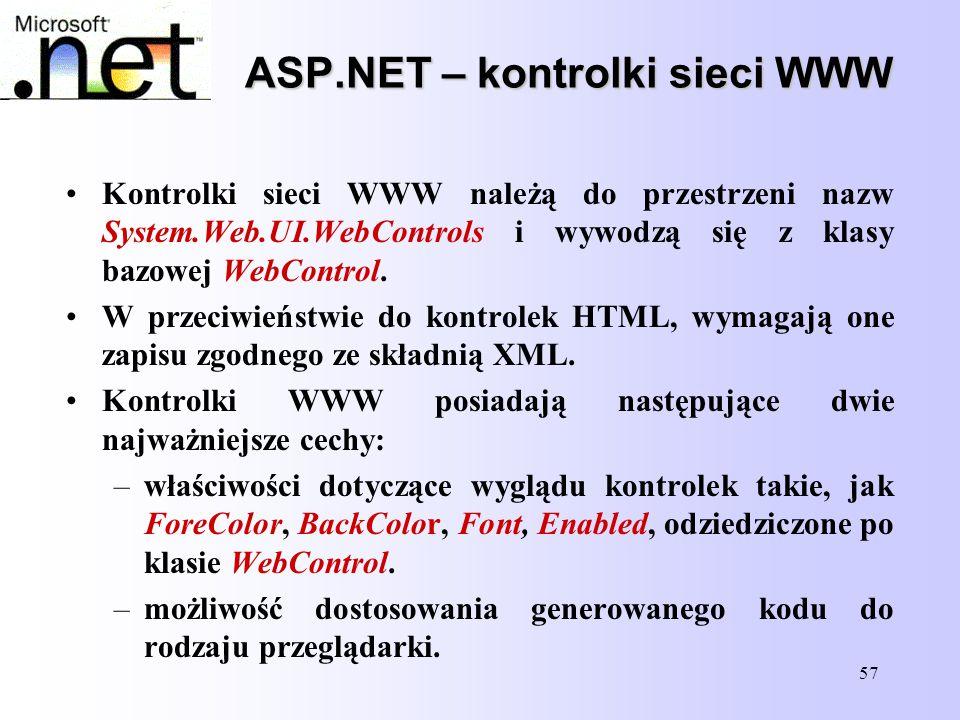 57 ASP.NET – kontrolki sieci WWW Kontrolki sieci WWW należą do przestrzeni nazw System.Web.UI.WebControls i wywodzą się z klasy bazowej WebControl. W