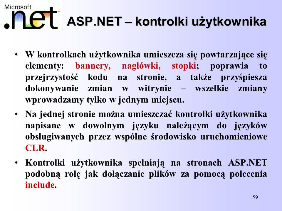 59 ASP.NET – kontrolki użytkownika W kontrolkach użytkownika umieszcza się powtarzające się elementy: bannery, nagłówki, stopki; poprawia to przejrzys