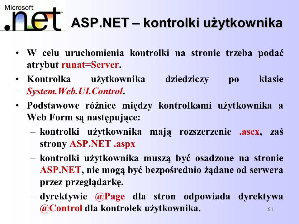 61 ASP.NET – kontrolki użytkownika W celu uruchomienia kontrolki na stronie trzeba podać atrybut runat=Server. Kontrolka użytkownika dziedziczy po kla