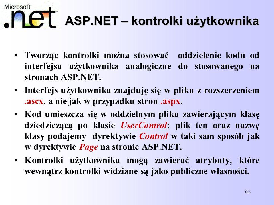62 ASP.NET – kontrolki użytkownika Tworząc kontrolki można stosować oddzielenie kodu od interfejsu użytkownika analogiczne do stosowanego na stronach