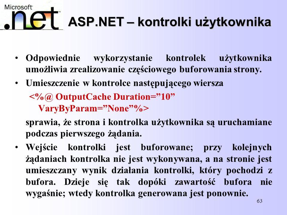 63 ASP.NET – kontrolki użytkownika Odpowiednie wykorzystanie kontrolek użytkownika umożliwia zrealizowanie częściowego buforowania strony. Umieszczeni