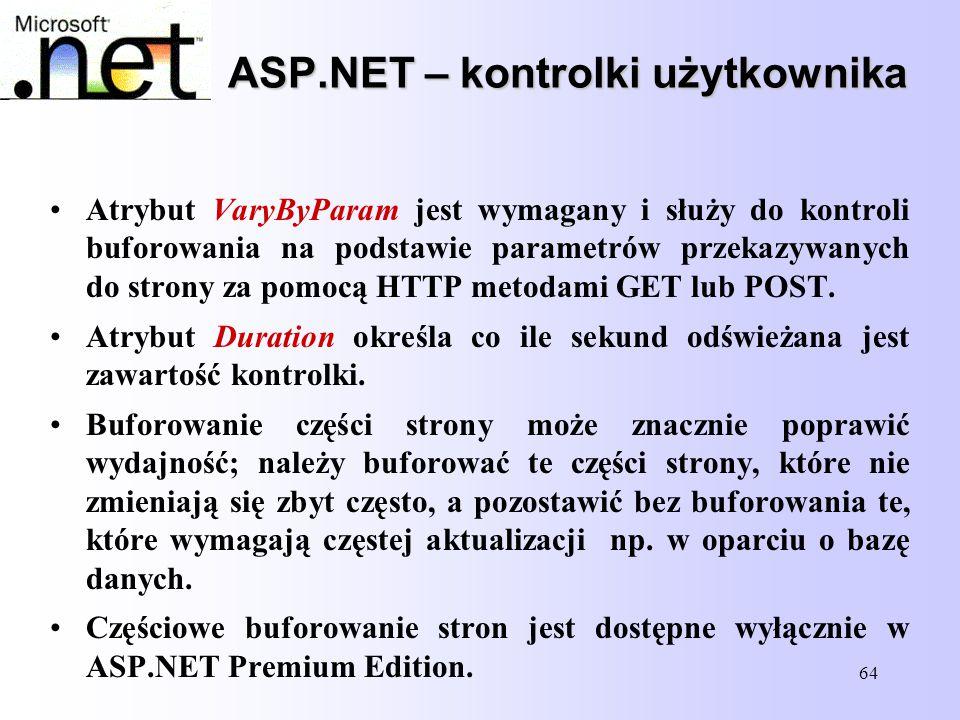 64 ASP.NET – kontrolki użytkownika Atrybut VaryByParam jest wymagany i służy do kontroli buforowania na podstawie parametrów przekazywanych do strony