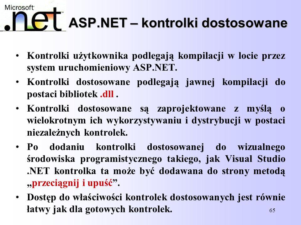 65 ASP.NET – kontrolki dostosowane Kontrolki użytkownika podlegają kompilacji w locie przez system uruchomieniowy ASP.NET. Kontrolki dostosowane podle