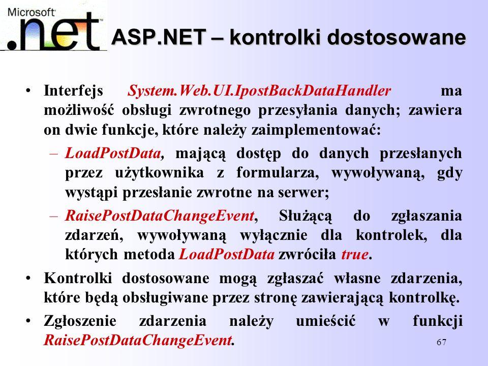 67 ASP.NET – kontrolki dostosowane Interfejs System.Web.UI.IpostBackDataHandler ma możliwość obsługi zwrotnego przesyłania danych; zawiera on dwie fun