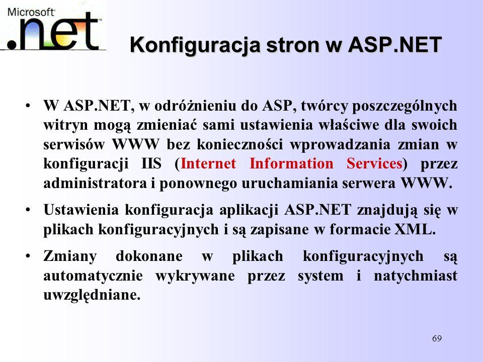 69 Konfiguracja stron w ASP.NET W ASP.NET, w odróżnieniu do ASP, twórcy poszczególnych witryn mogą zmieniać sami ustawienia właściwe dla swoich serwis
