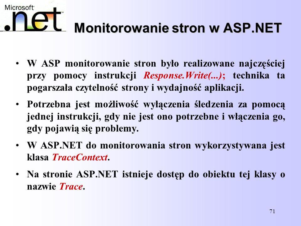 71 Monitorowanie stron w ASP.NET W ASP monitorowanie stron było realizowane najczęściej przy pomocy instrukcji Response.Write(...); technika ta pogars