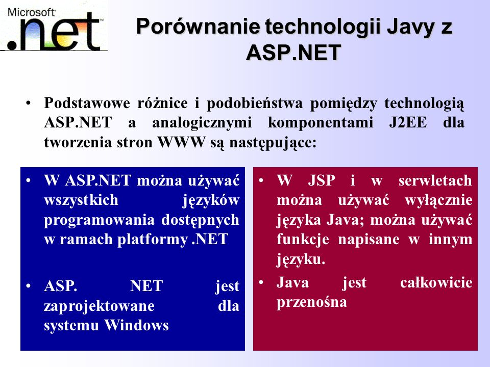 75 Porównanie technologii Javy z ASP.NET Podstawowe różnice i podobieństwa pomiędzy technologią ASP.NET a analogicznymi komponentami J2EE dla tworzeni
