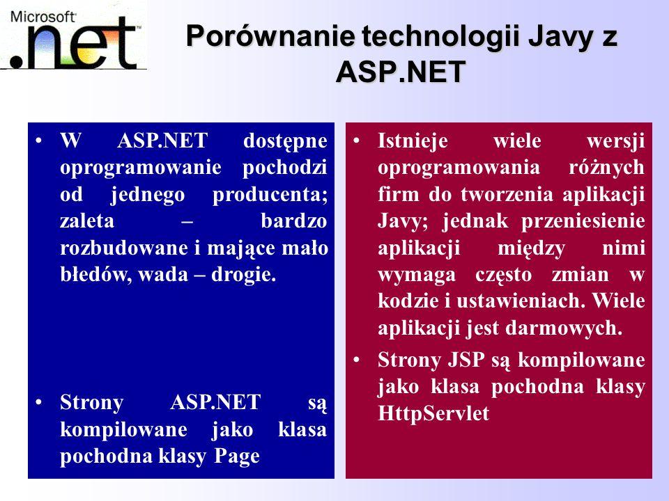 76 Porównanie technologii Javy z ASP.NET W ASP.NET dostępne oprogramowanie pochodzi od jednego producenta; zaleta – bardzo rozbudowane i mające mało b