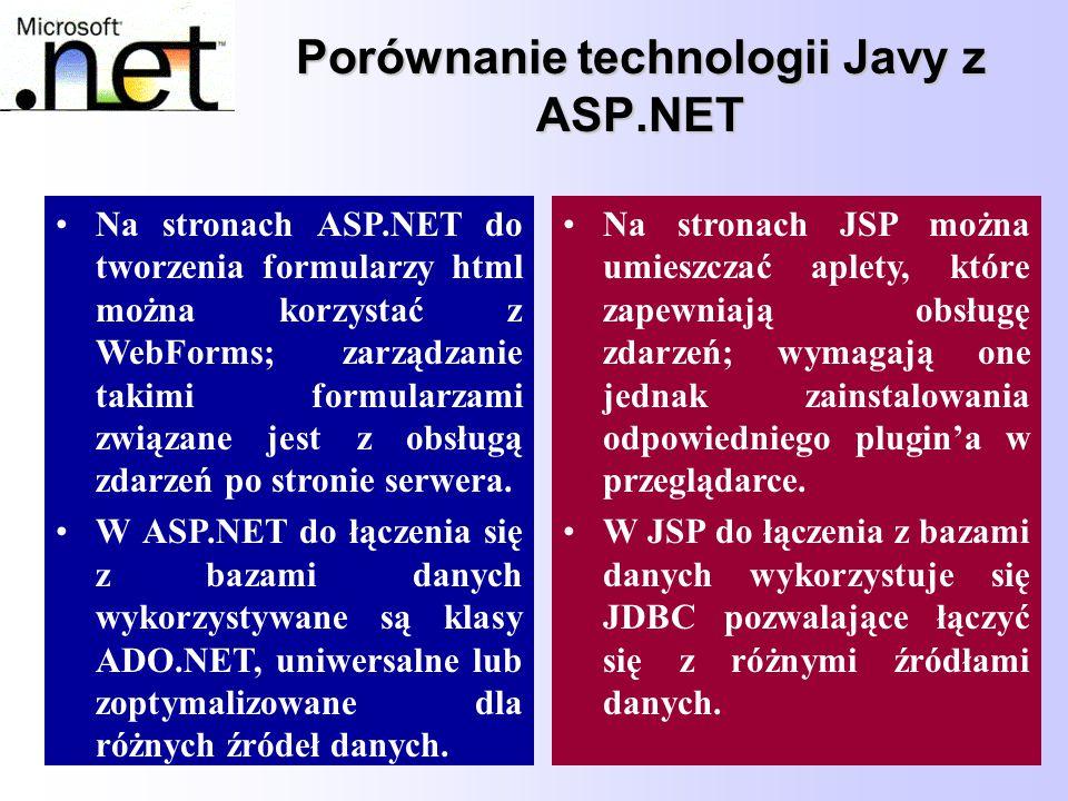 78 Porównanie technologii Javy z ASP.NET Na stronach ASP.NET do tworzenia formularzy html można korzystać z WebForms; zarządzanie takimi formularzami