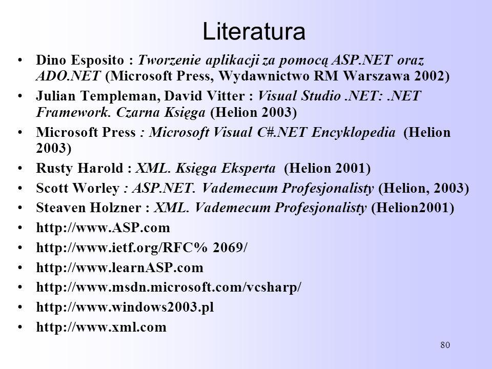 80 Dino Esposito : Tworzenie aplikacji za pomocą ASP.NET oraz ADO.NET (Microsoft Press, Wydawnictwo RM Warszawa 2002) Julian Templeman, David Vitter :