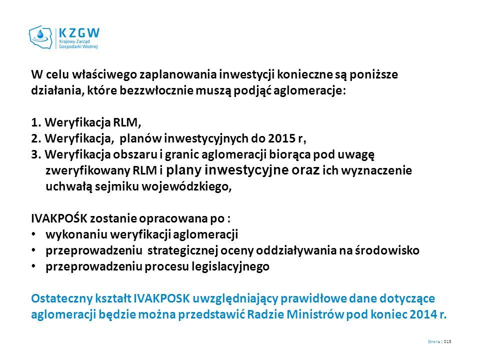Strona | 015 W celu właściwego zaplanowania inwestycji konieczne są poniższe działania, które bezzwłocznie muszą podjąć aglomeracje: 1. Weryfikacja RL