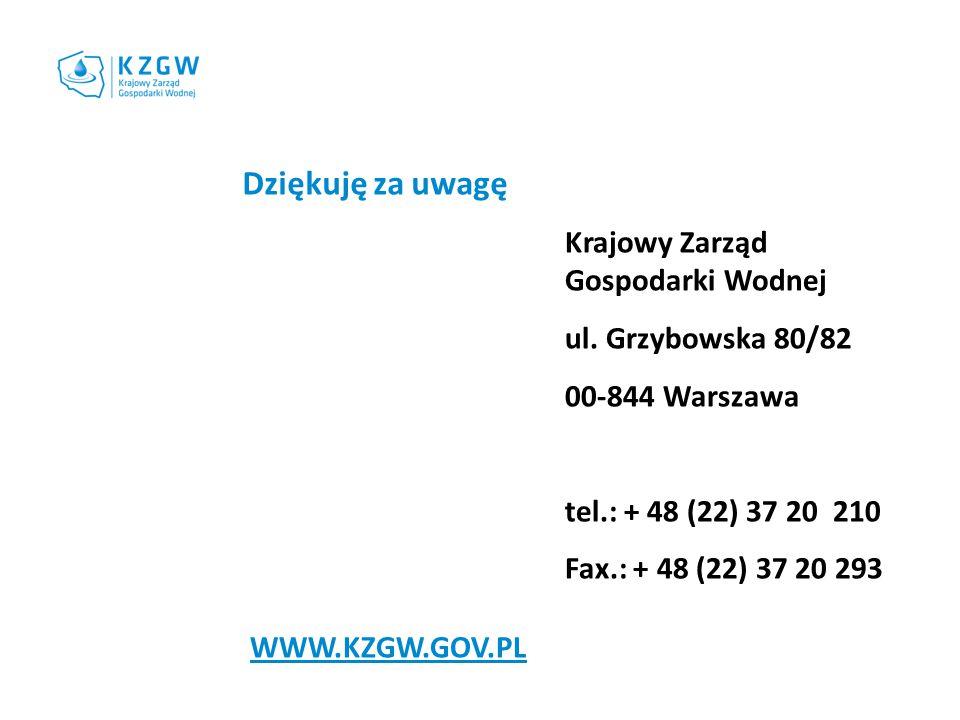 Krajowy Zarząd Gospodarki Wodnej ul. Grzybowska 80/82 00-844 Warszawa tel.: + 48 (22) 37 20 210 Fax.: + 48 (22) 37 20 293 Dziękuję za uwagę WWW.KZGW.G