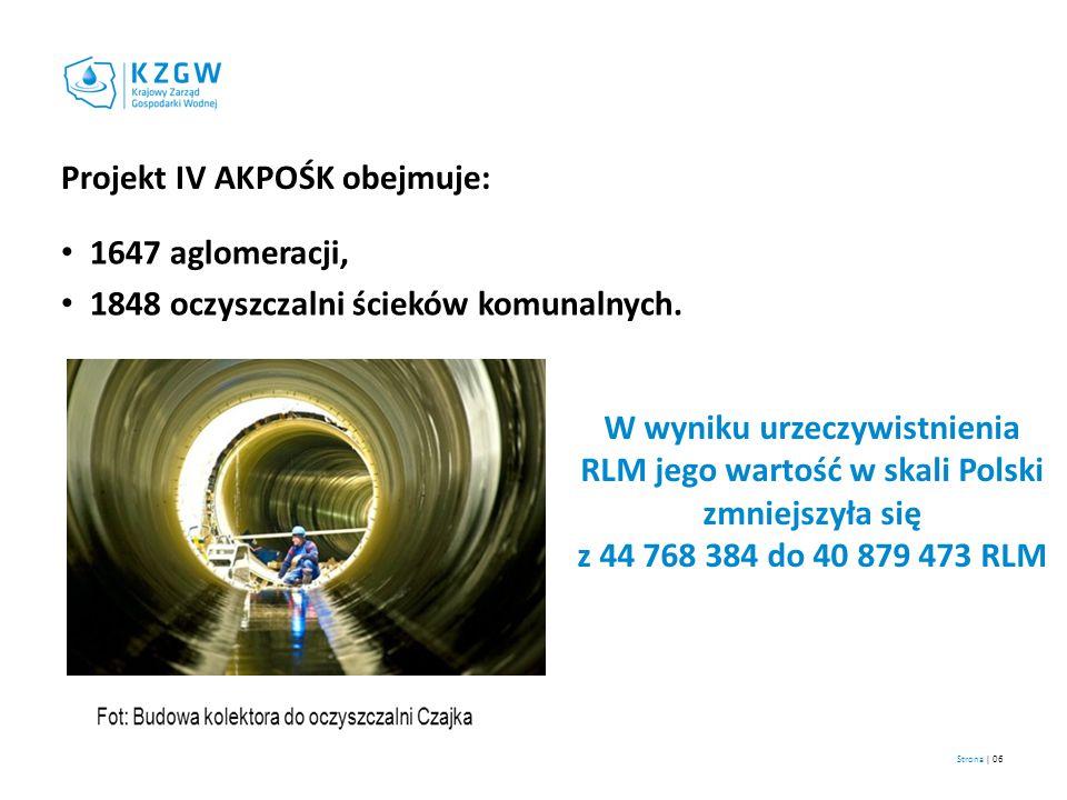 Strona | 06 Projekt IV AKPOŚK obejmuje: 1647 aglomeracji, 1848 oczyszczalni ścieków komunalnych. W wyniku urzeczywistnienia RLM jego wartość w skali P