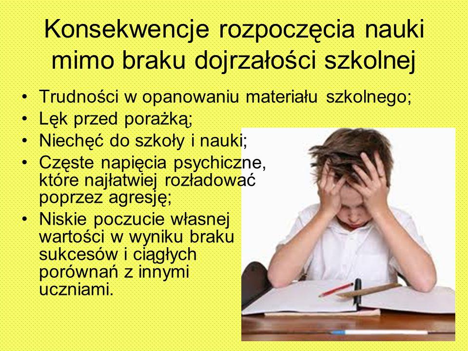 Konsekwencje rozpoczęcia nauki mimo braku dojrzałości szkolnej Trudności w opanowaniu materiału szkolnego; Lęk przed porażką; Niechęć do szkoły i nauk