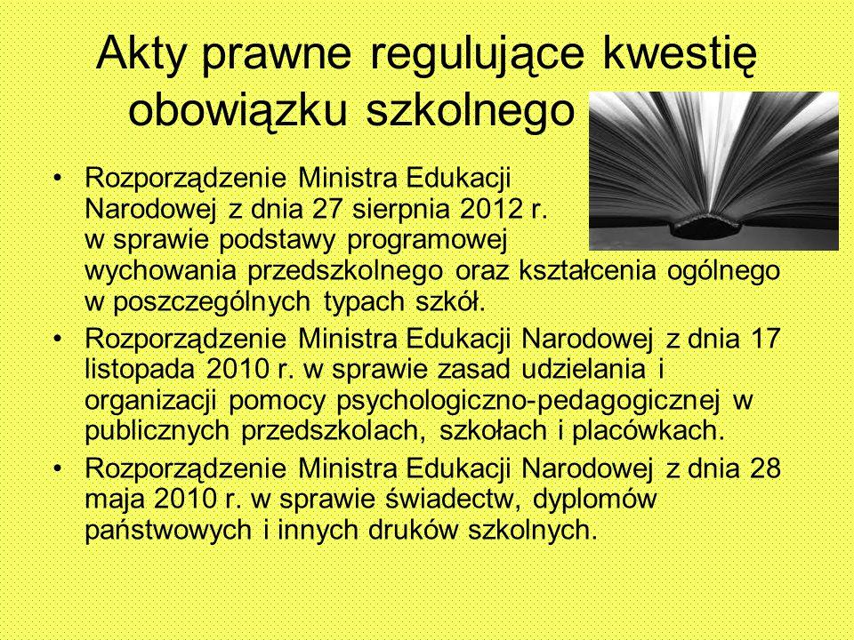 Akty prawne regulujące kwestię obowiązku szkolnego Rozporządzenie Ministra Edukacji Narodowej z dnia 27 sierpnia 2012 r. w sprawie podstawy programowe