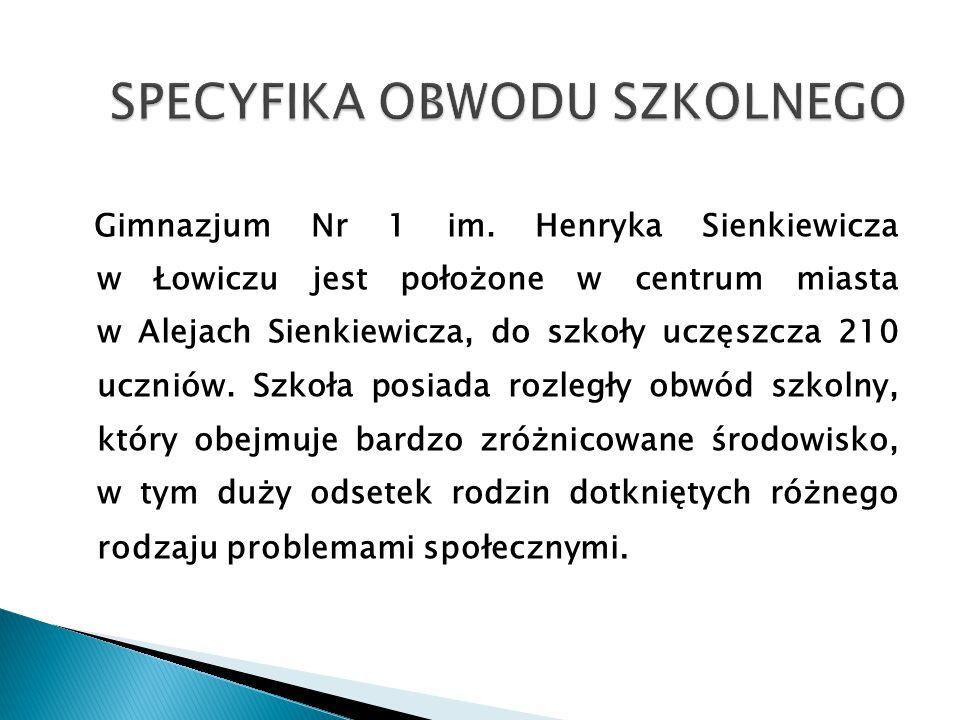 Gimnazjum Nr 1 im. Henryka Sienkiewicza w Łowiczu jest położone w centrum miasta w Alejach Sienkiewicza, do szkoły uczęszcza 210 uczniów. Szkoła posia