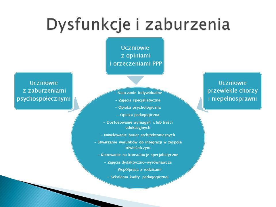- Nauczanie indywidualne - Zajęcia specjalistyczne - Opieka psychologiczna - Opieka pedagogiczna - Dostosowanie wymagań i/lub treści edukacyjnych - Ni