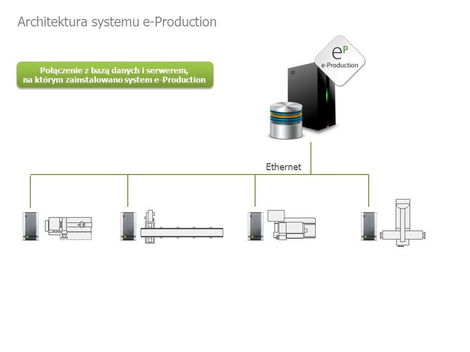 Ethernet Połączenie z bazą danych i serwerem, na którym zainstalowano system e-Production Architektura systemu e-Production