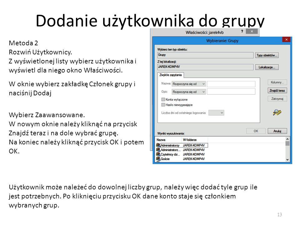 Foldery macierzyste 14 Folder macierzysty jest to folder użytkownika, który zawiera tylko jego własne dane.