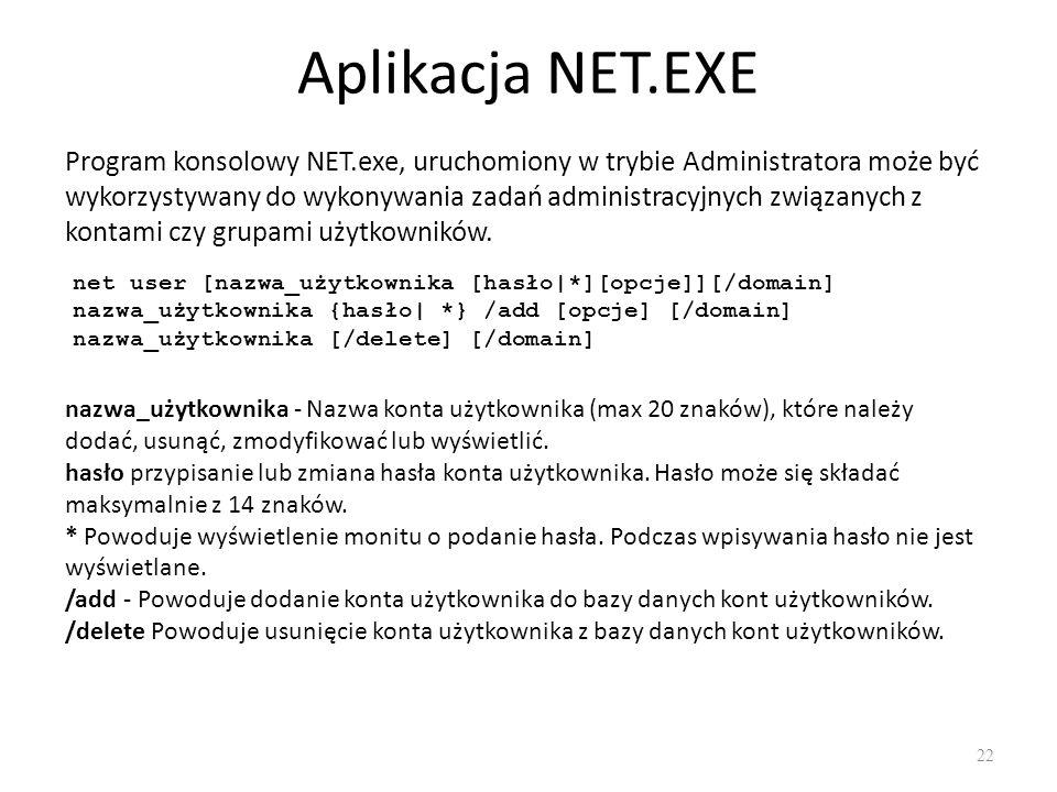 NET – tworzenie grup 23 net localgroup [ [/comment: ]] [/domain] net localgroup [ {/add[/comment: ] /delete}[/domain] net localgroup [ […] {/add   /delete} [/domain] Specyfikuje nazwę grupy lokalnej przeznaczonej do utworzenia, rozszerzenia lub usunięcia.