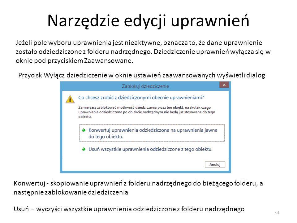 Uprawnienia specjalne 35 Standardowe uprawnienia NTFS dają użytkownikom systemu Windows wystarczające sposoby do kontroli i zabezpieczania dostępu do zasobów.