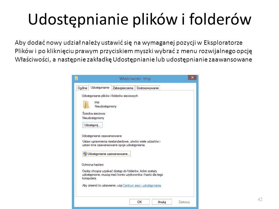 Udostępnianie zaawansowane 43 W oknie Udostępnianie zaawansowane można ustawić: Nazwę udziału, Liczbę jednoczesnych użytkowników, Uprawnienia dla udziału (Odczyt, Zmiana, pełna kontrola) Buforowanie.