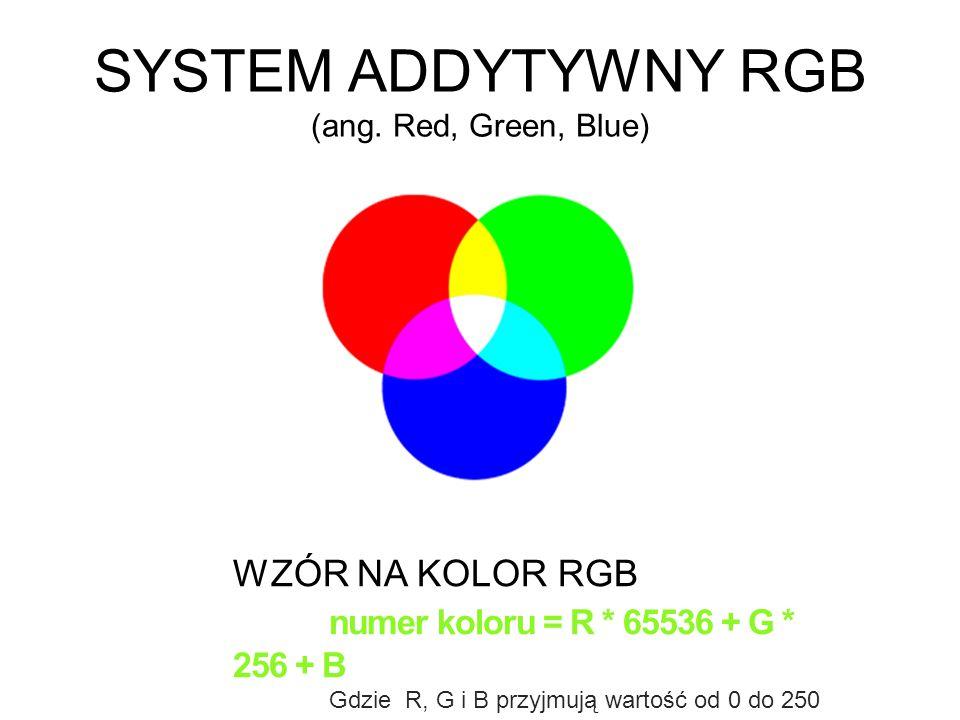 SYSTEM ADDYTYWNY RGB (ang. Red, Green, Blue) WZÓR NA KOLOR RGB numer koloru = R * 65536 + G * 256 + B Gdzie R, G i B przyjmują wartość od 0 do 250