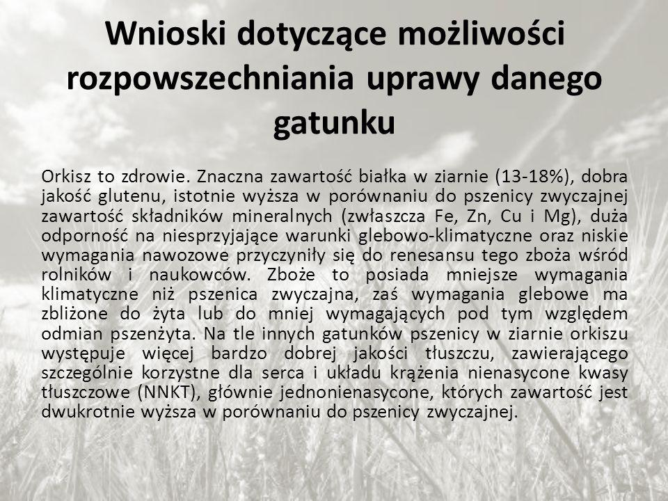 Wnioski dotyczące możliwości rozpowszechniania uprawy danego gatunku Orkisz to zdrowie. Znaczna zawartość białka w ziarnie (13-18%), dobra jakość glut