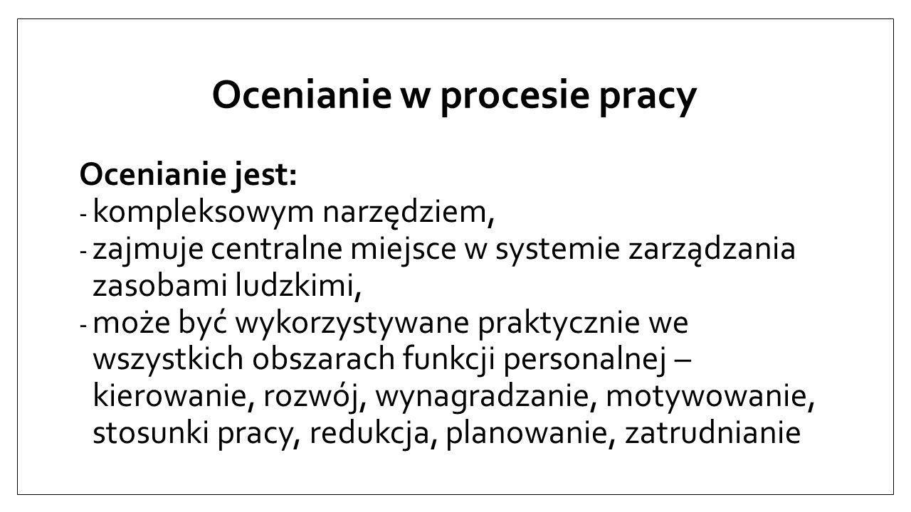 Oceny pracownicze Wprowadzenie okresowego oceniania pracowników wymaga przeprowadzenia konkretnych prac we wzajemnie ze sobą powiązanych fazach: - projektowania; - wdrażania; - wykorzystania systemu.