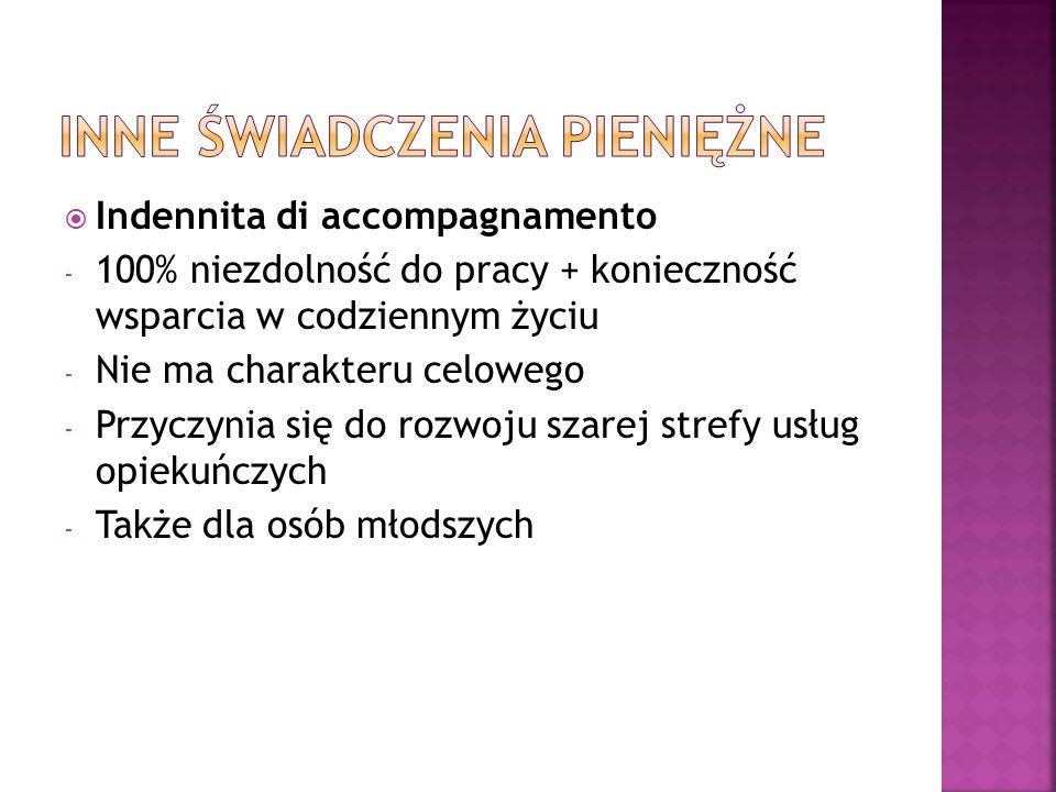  Indennita di accompagnamento - 100% niezdolność do pracy + konieczność wsparcia w codziennym życiu - Nie ma charakteru celowego - Przyczynia się do