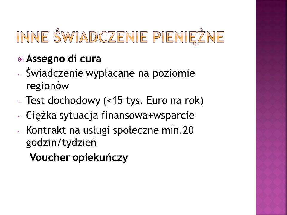  Assegno di cura - Świadczenie wypłacane na poziomie regionów - Test dochodowy (<15 tys. Euro na rok) - Ciężka sytuacja finansowa+wsparcie - Kontrakt