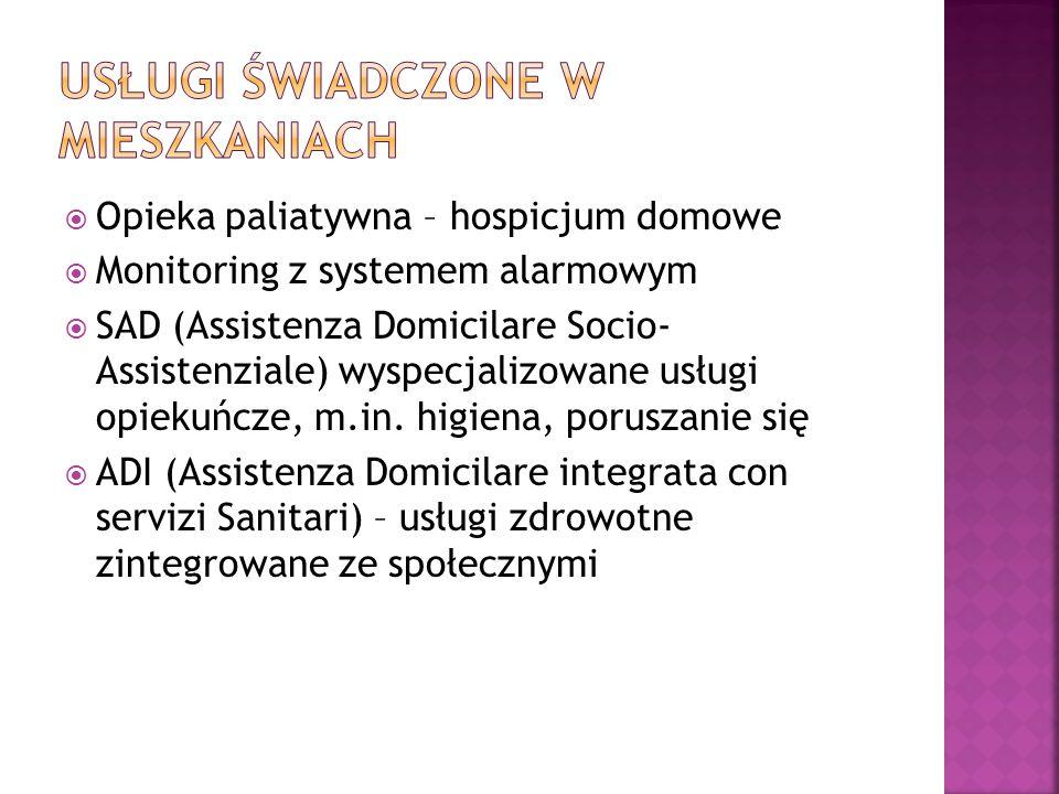  Opieka paliatywna – hospicjum domowe  Monitoring z systemem alarmowym  SAD (Assistenza Domicilare Socio- Assistenziale) wyspecjalizowane usługi op