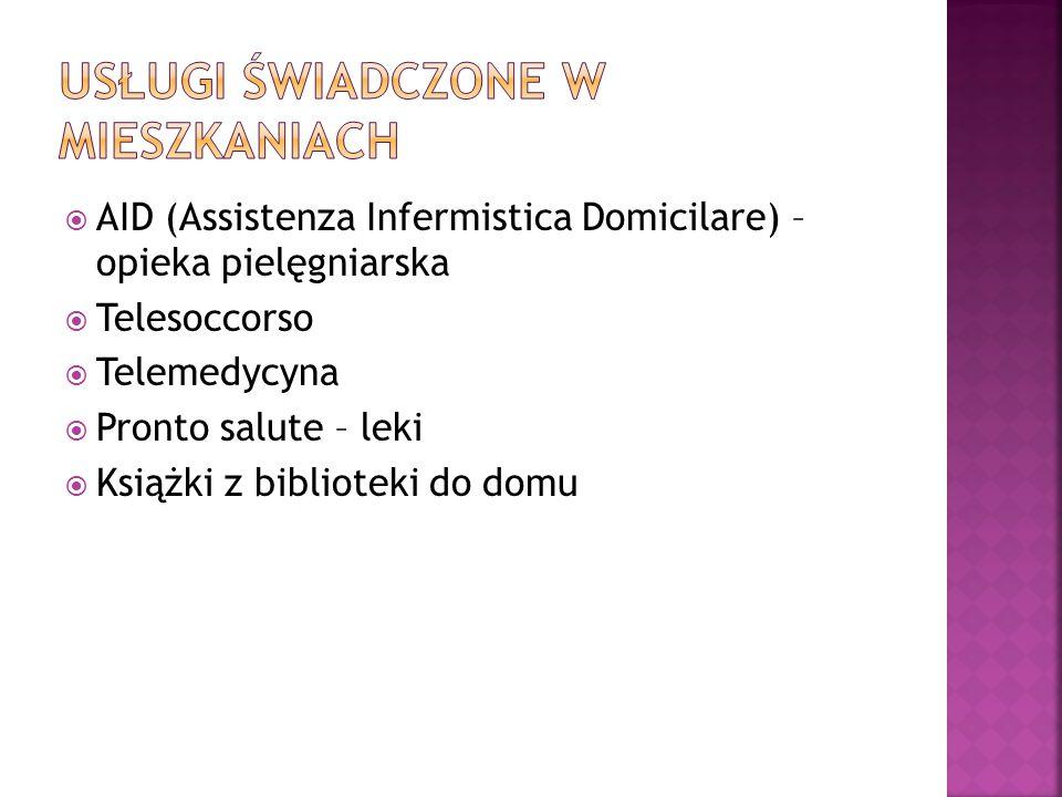  AID (Assistenza Infermistica Domicilare) – opieka pielęgniarska  Telesoccorso  Telemedycyna  Pronto salute – leki  Książki z biblioteki do domu