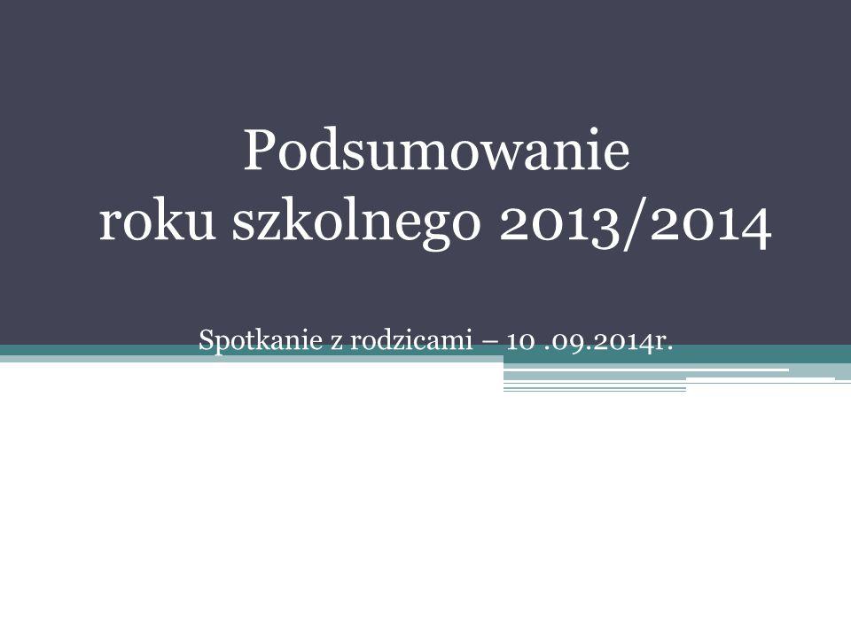 Podsumowanie roku szkolnego 2013/2014 Spotkanie z rodzicami – 10.09.2014r.