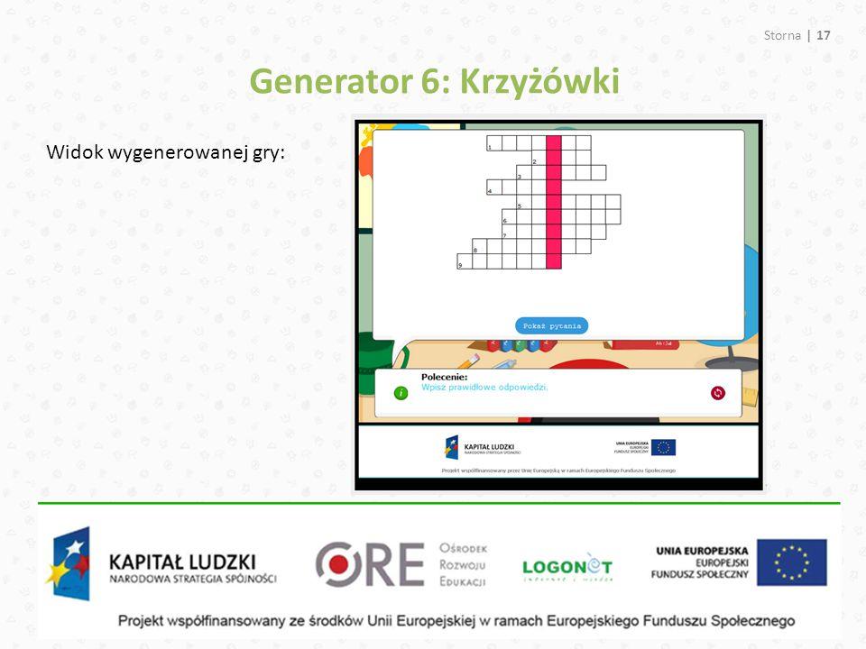 Storna | 17 Generator 6: Krzyżówki Widok wygenerowanej gry: