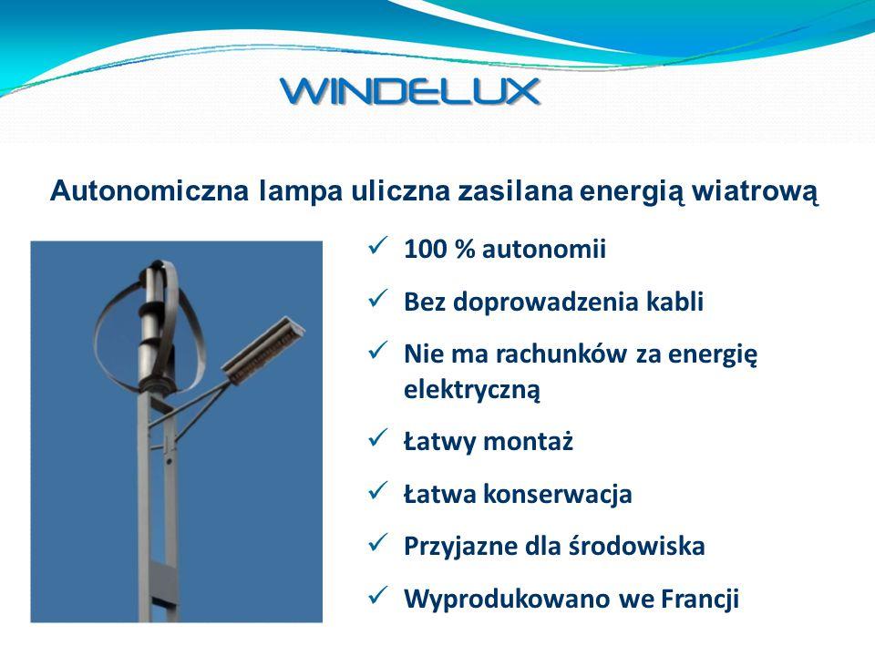 Autonomiczna lampa uliczna zasilana energią wiatrową 100 % autonomii Bez doprowadzenia kabli Nie ma rachunków za energię elektryczną Łatwy montaż Łatw