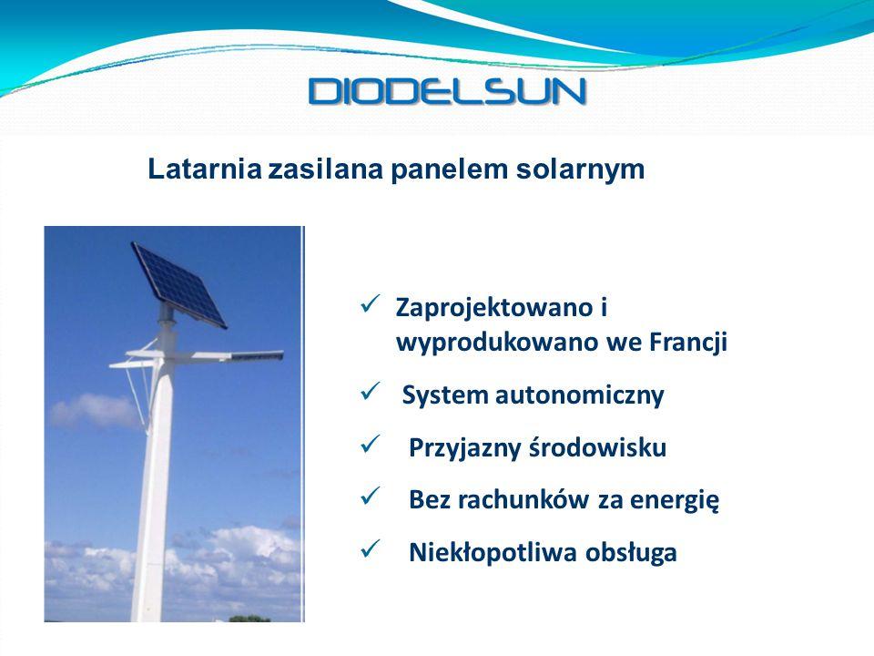 Latarnia zasilana panelem solarnym Zaprojektowano i wyprodukowano we Francji System autonomiczny Przyjazny środowisku Bez rachunków za energię Niekłop