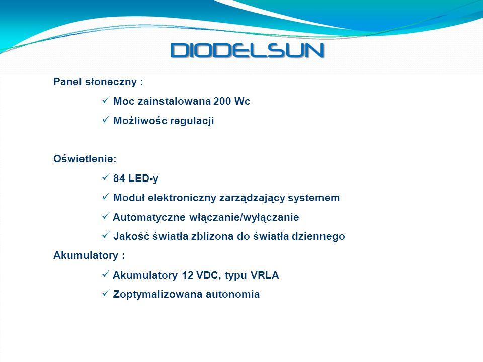 Panel słoneczny : Moc zainstalowana 200 Wc Możliwośc regulacji Oświetlenie: 84 LED-y Moduł elektroniczny zarządzający systemem Automatyczne włączanie/