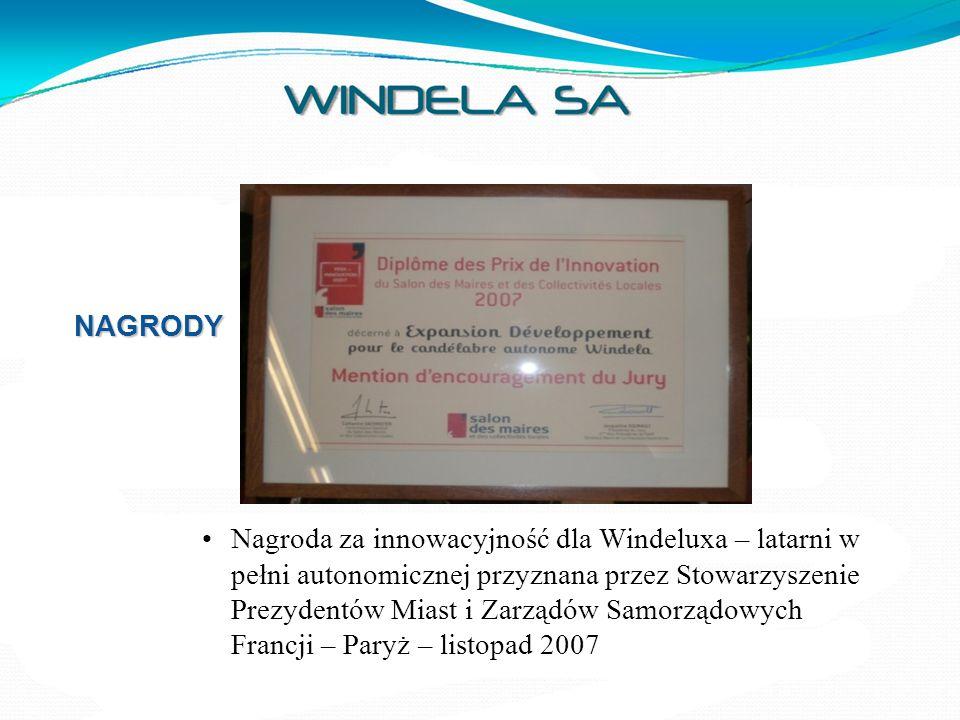 NAGRODY Wystawa Viv'expo – Zrównoważony Rozwój RENNES – Francja – listopad 2008 Nagroda dla : Windeluxa – autonomicznej latarni w kategorii ''Strategia Zrównoważonego Rozwoju'', Nagroda dla Diodeli, oświetlenie z najniższą konsumpcją prądu – w kategorii ''Innowacyjność''.